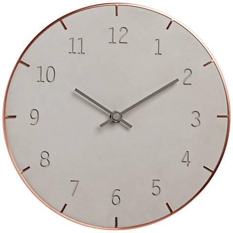 """Piatto Concrete and Copper 10"""" Round Wall Clock"""