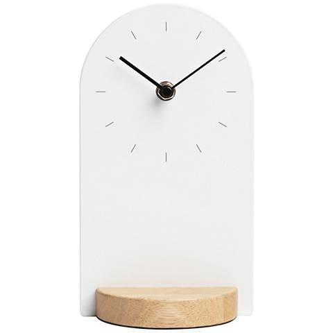 "Sometime White and Natural 9"" High Desk Clock"