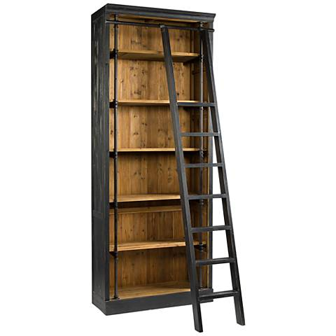 Ivy Black and Antique Bleached Sea Wood Bookcase and Ladder