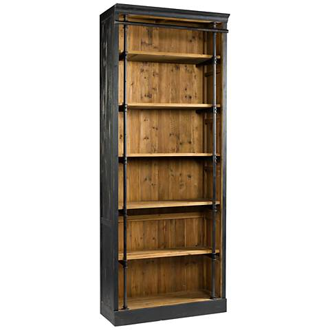 Ivy Matte Black and Antique Bleached Sea Wood Bookcase