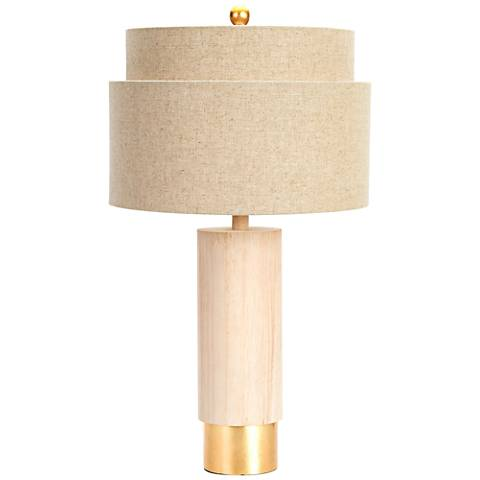 Couture Flagstaff Natural Rubberwood and Gold Table Lamp