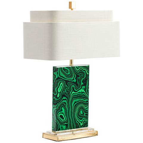 Couture Malachite Green and Gold Leaf Table Lamp