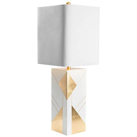 Couture Hollywood Gloss White and Gold Leaf Table Lamp