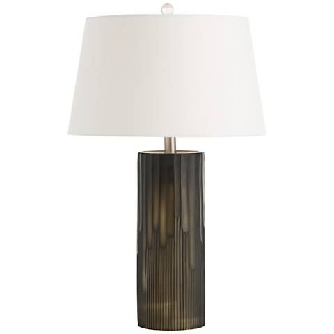 Arteriors Home Dyer Black Column Table Lamp with Ivory Shade