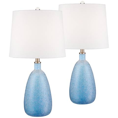Canley Blue Frosted Glass Table Lamp Set of 2