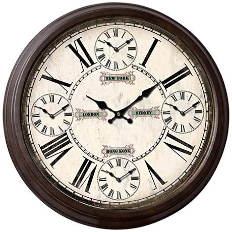 "Logan Bronze 27 1/2"" Round Metal Wall Clock"