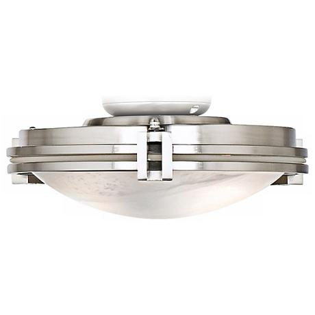Ceiling Fan Light Kit in Brushed Steel with Marbleized Glass