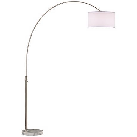 Nova Arcing Linen Shade Arc Floor Lamp