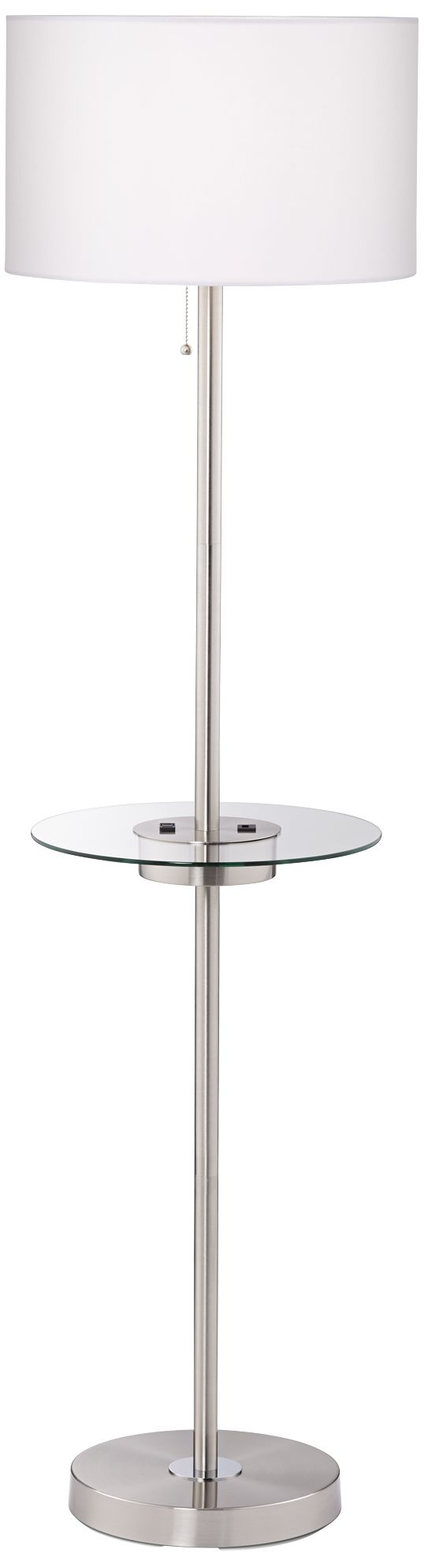 caper brushed satin tray table floor lamp with usb port