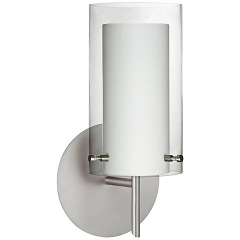 "Besa Pahu 10 3/4"" High Satin Nickel Wall Sconce"