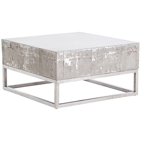 Barnard White Wash Concrete and Chrome Square Coffee Table