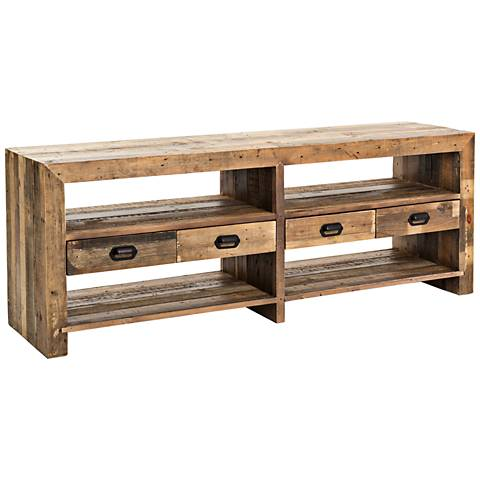 Mariposa Rustic Natural Mixed Reclaimed Wood Media Console