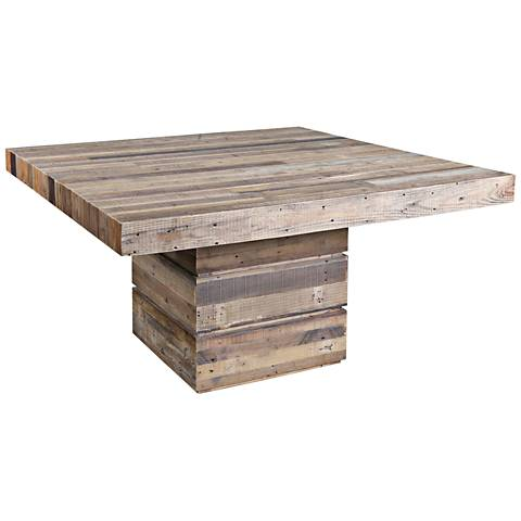 Tahoe Rustic Natural Reclaimed Wood Square Dining Table 15A55 Lamps Plus