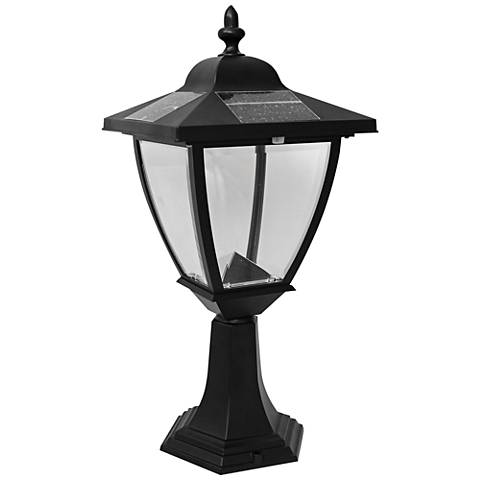 "Elegante 17"" High Black Outdoor Solar LED Pier Mount Light"