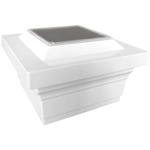 """Majestic 3 3/4"""" High White Outdoor Solar LED Post Cap"""