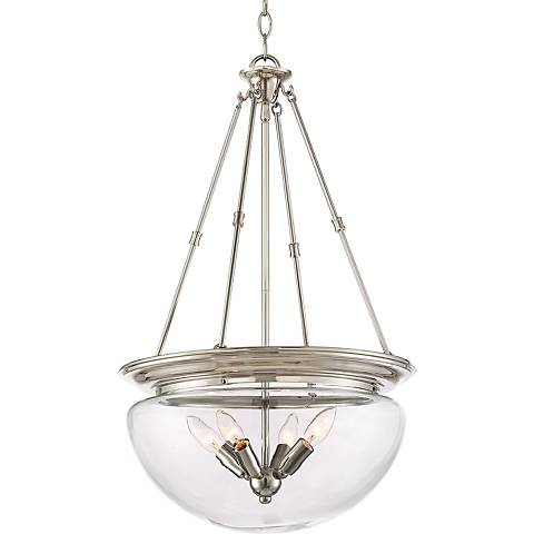 "Possini Euro Drew 18""W Polished Nickel 4-Light Bowl Pendant"