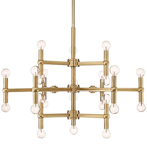"Possini Euro Clark 32"" Wide Satin Brass 24-Light Chandelier"