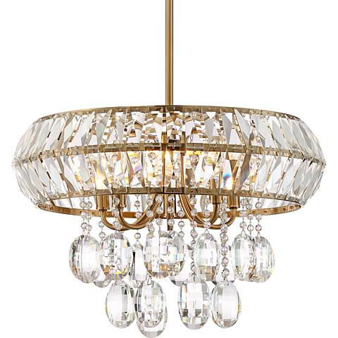 "McGee 20"" Wide Satin Brass 5-Light Crystal Chandelier"