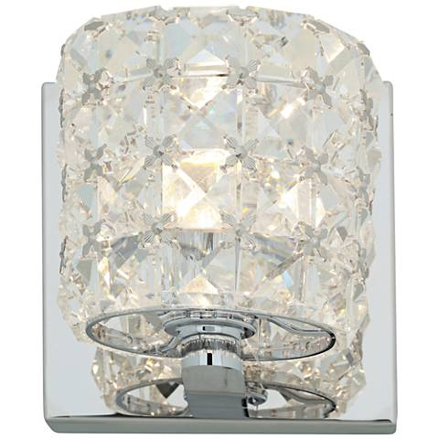 """Prizm 4 3/4"""" High Chrome and Crystal LED Wall Sconce"""