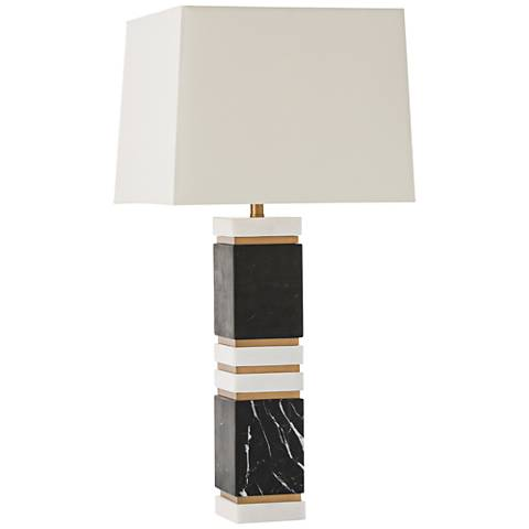 Arteriors Home Dustin Black and White Marble Table Lamp