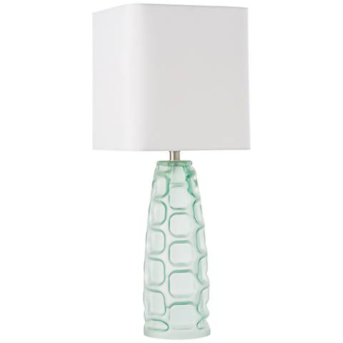 Arteriors Home Elyssa Light Aqua Glass Obelisk Table Lamp