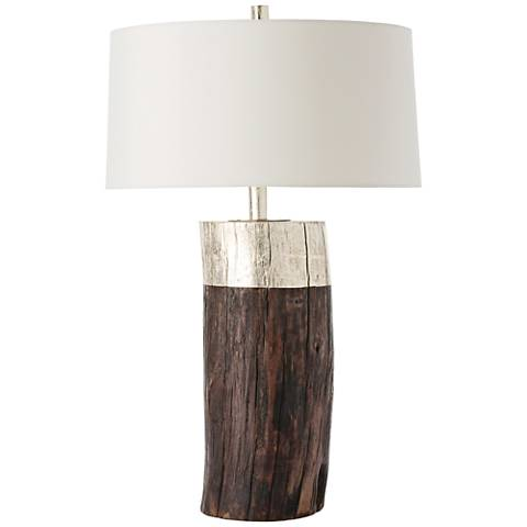 Arteriors Home Emery Silver Leaf Natural Wood Table Lamp
