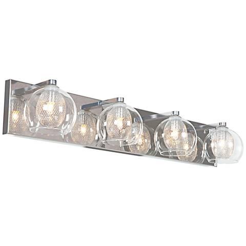 "Aeria 28 1/4"" Wide Chrome and Clear Glass 4-LED Bath Light"