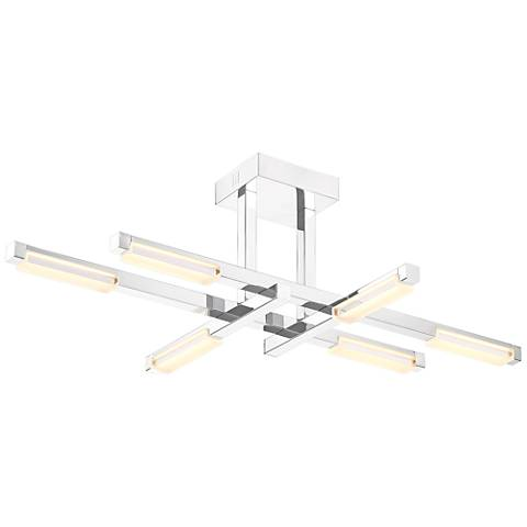 "Possini Euro Beemer 34 3/4"" Wide LED Chrome Ceiling Light"