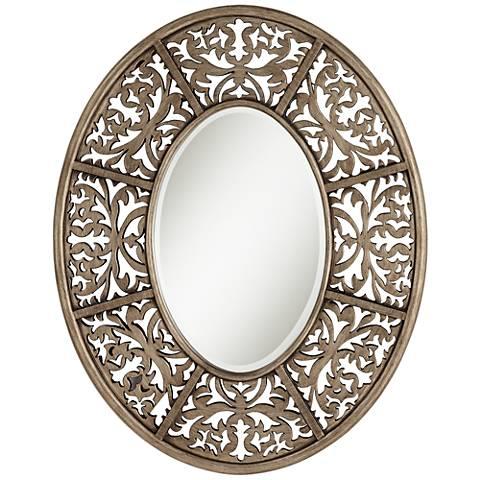 "Lattice Golden Brown 28 3/4"" x 36"" Oval Wall Mirror"