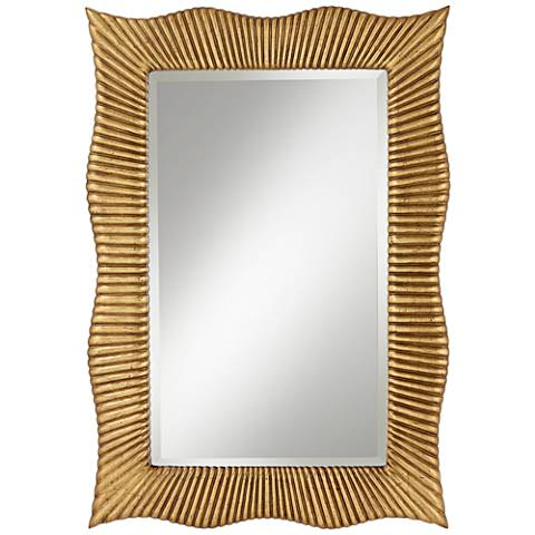 """Wave Gold Ribbed 27 1/2"""" x 39"""" Rectangle Wall Mirror"""