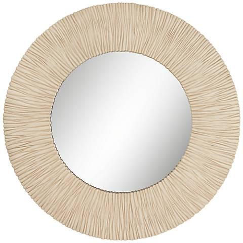 """Ribbed Sunburst Beige 38 1/2"""" Round Wall Mirror"""