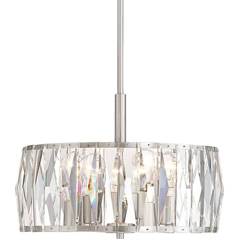 "Rowena 17 1/4"" Wide Brushed Nickel Louvred Crystal Pendant"