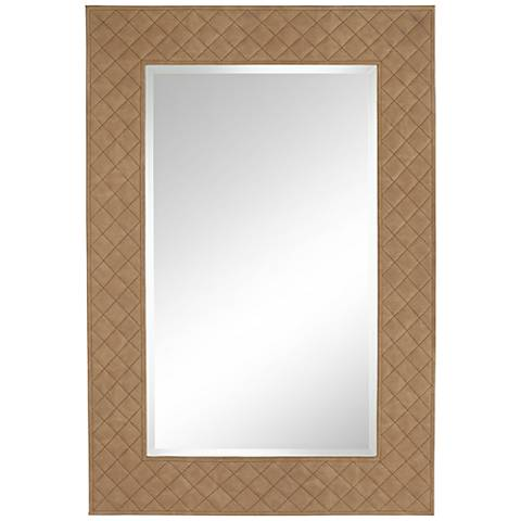 """Quilted Mink Sandstone 28"""" x 41"""" Framed Wall Mirror"""