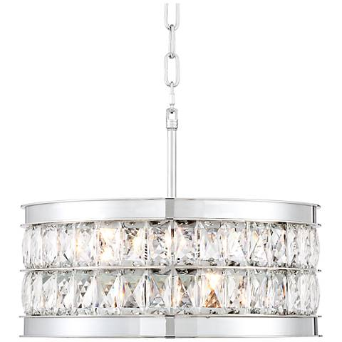 "Safiya 15 3/4"" Wide Chrome and Crystal Pendant Light"