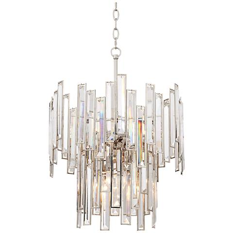 "Daciana 17 1/2""W Polished Nickel and Crystal Pendant Light"