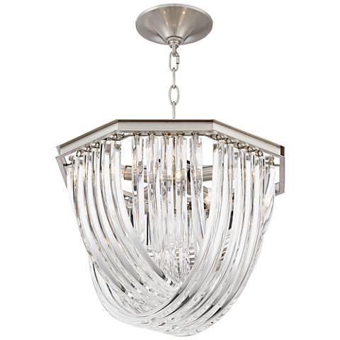 "Possini Euro Gaila 18""W Nickel and Clear Glass Pendant Light"