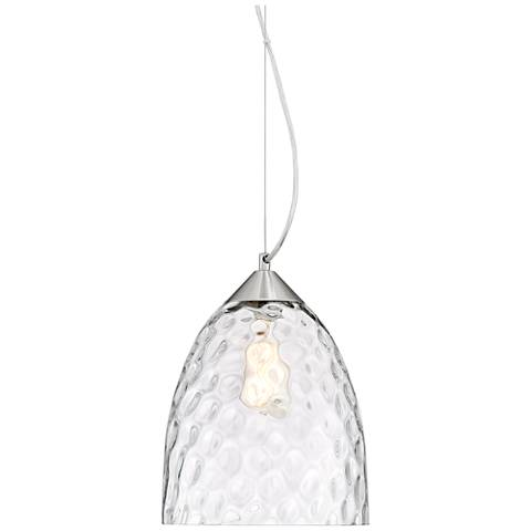"Hadrian 9 3/4""W Brushed Nickel and Clear Glass Mini Pendant"