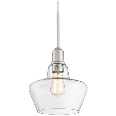 """Madoc 9 3/4""""W Brushed Nickel and Clear Glass Mini Pendant"""