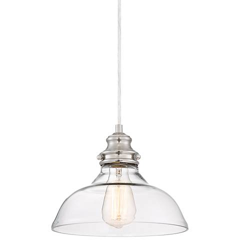 """Mansel 9 3/4""""W Brushed Nickel and Clear Glass Mini Pendant"""