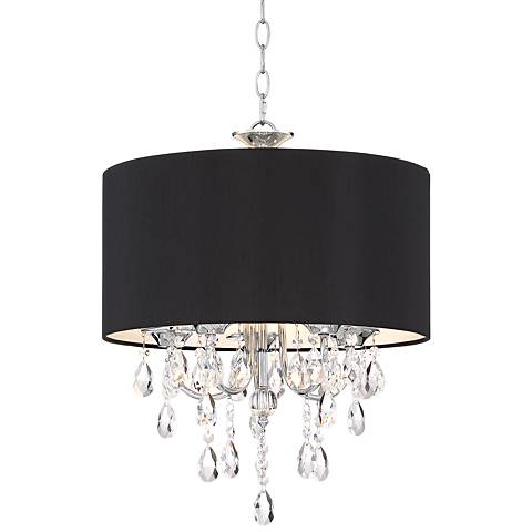 "Kali 17"" Wide Chrome with Black Shade Crystal Pendant Light"