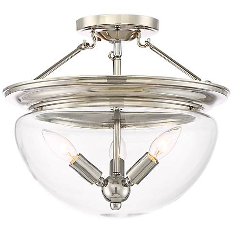 "Possini Euro Drew 15""W Polished Nickel 3-Light Ceiling Light"