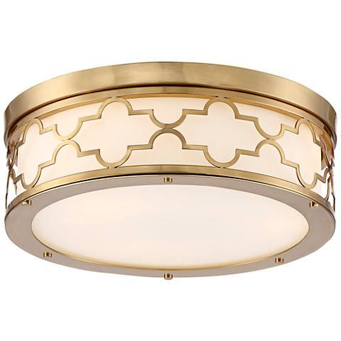 "Possini Euro Karenna 15"" Wide Satin Brass Ceiling Light"