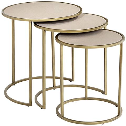 Marbella Antique Brushed Brass 3-Piece Nesting Table Set