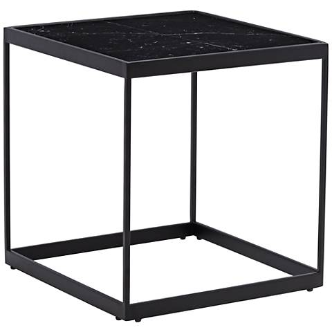 """Lyou 19"""" High Black Marble Square End Table"""