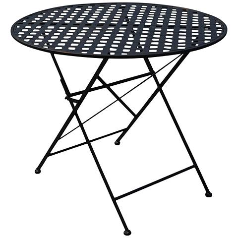 Nantucket Black Iron Round Outdoor Folding Table