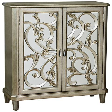 PFC Accents Scrolled Pewter 2-Door Wine Storage Console