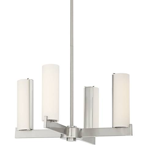 "George Kovacs Tube 18"" Wide Brushed Nickel LED Chandelier"