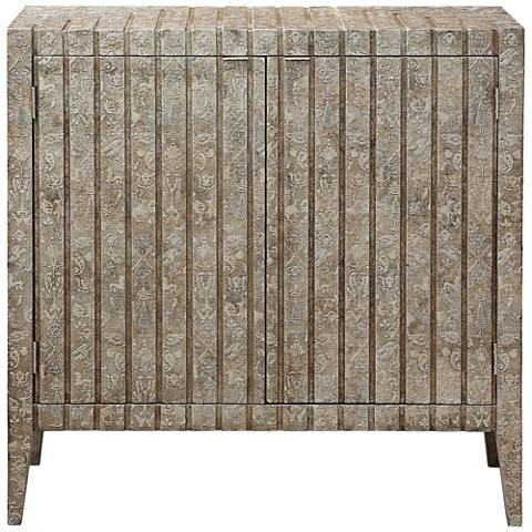 PFC Accents Sylvia Carved Metallic 2-Door Bar Cabinet