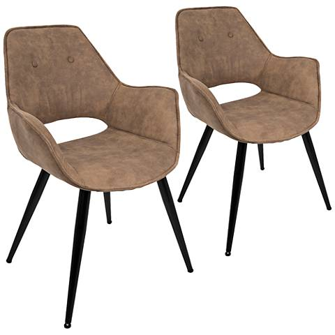 Mustang Brown and Metal Tufted Accent Chair Set of 2