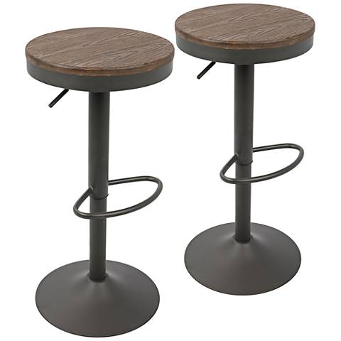 leick furniture set of 2 brown swivel adjustable bar stools x8411 lamps plus. Black Bedroom Furniture Sets. Home Design Ideas